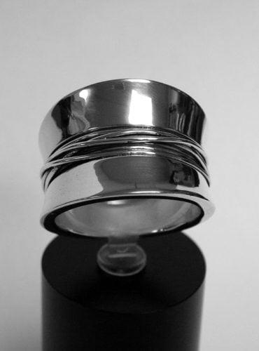 diabolo ring zilver met draad
