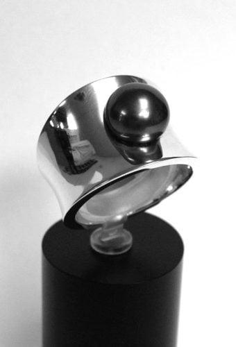 diaboloring zilver met parel
