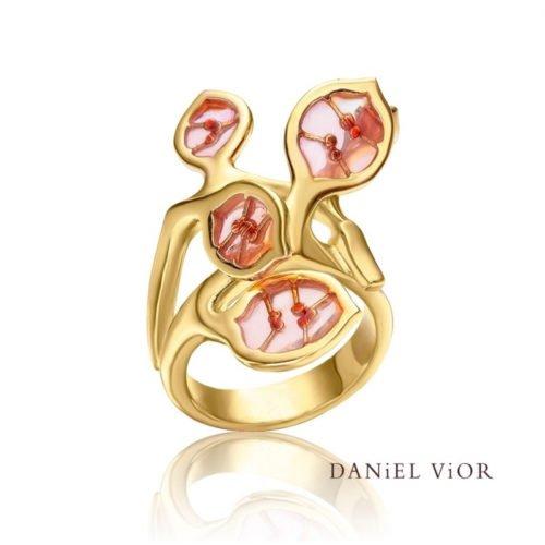 daniel vior ring-lunaria-pink-enamel-ag925 amfora sluis